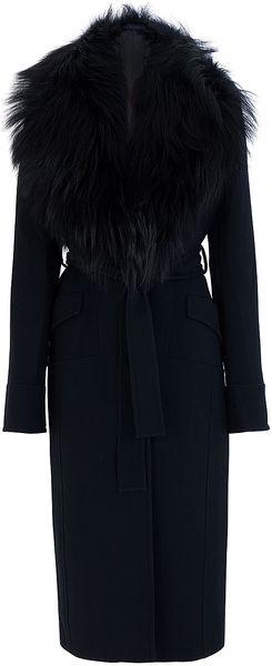 Elie Saab Fur Collar Coat in Black. Beyond fabulous ...
