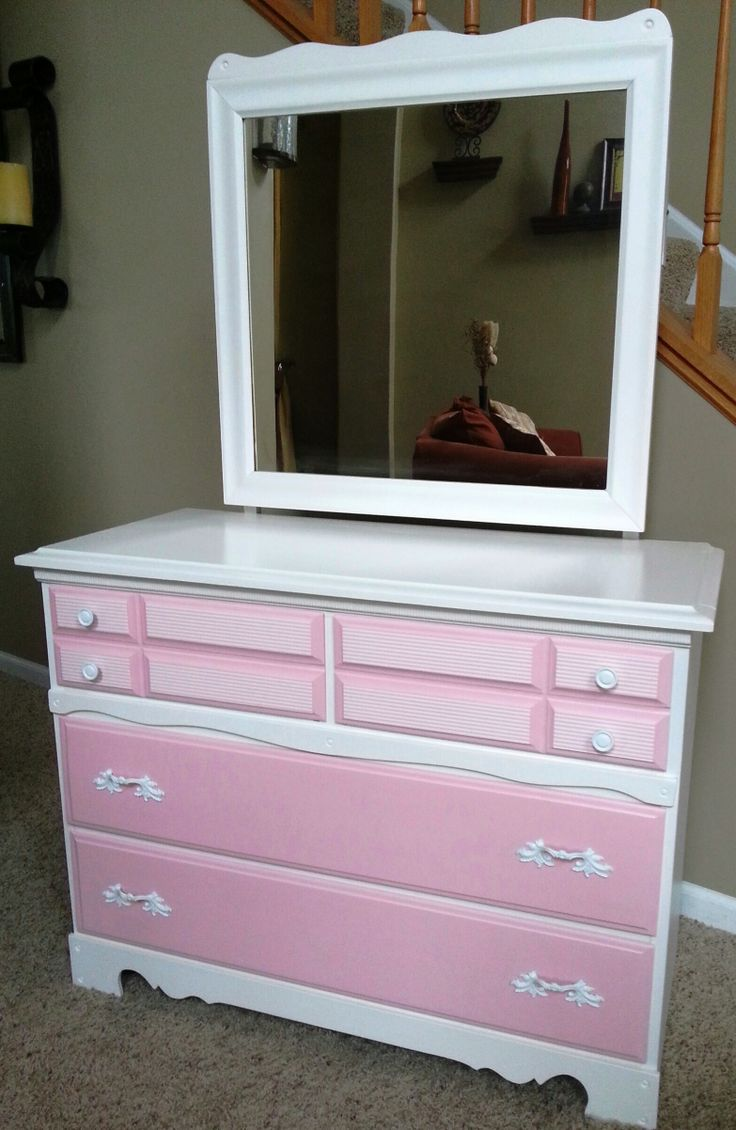 refurbished dresser little girl s pink and white dresser with mirror painted in soft lace. Black Bedroom Furniture Sets. Home Design Ideas