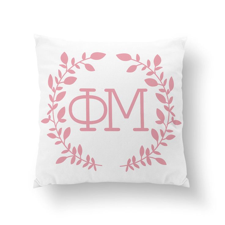 "Phi Mu Wreath Pillow - 10"" or 16"" ΦΜ / Sorority Pillow, Big Little Gift, Sorority Life, Dorm Decor by Sororitee on Etsy https://www.etsy.com/listing/204142125/phi-mu-wreath-pillow-10-or-16quot-phm"