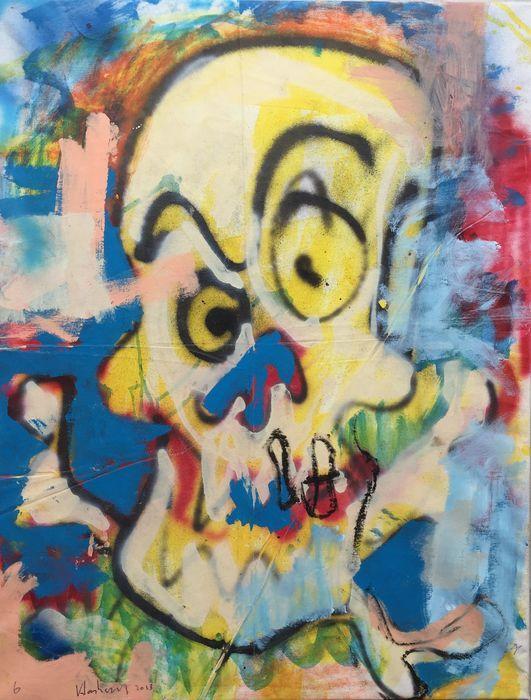 Peter Klashorst - Comic skull  Acrylverf werk van Peter Klashorst uit 2013. De afmeting van het schilderij is circa 90 x 70 cm. Het doek is reeds voor u opgespannen op een houten frame.De gebruikte techniek is acrylverf op katoen. Let op: Als bewijs van echtheid ontvangt u bij dit originele werk de digitale foto waarop Peter zelf het werk in handen heeft (zie foto 2). Dit is voor u de garantie dat u geen vals werk koopt.  EUR 1.00  Meer informatie