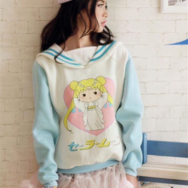 Japanese Sailor Moon Anime Pullover Women Kawaii Cute Hoodies Harajuku Sweatshirt Teenage Girls Fashion Autumn Fall clothes