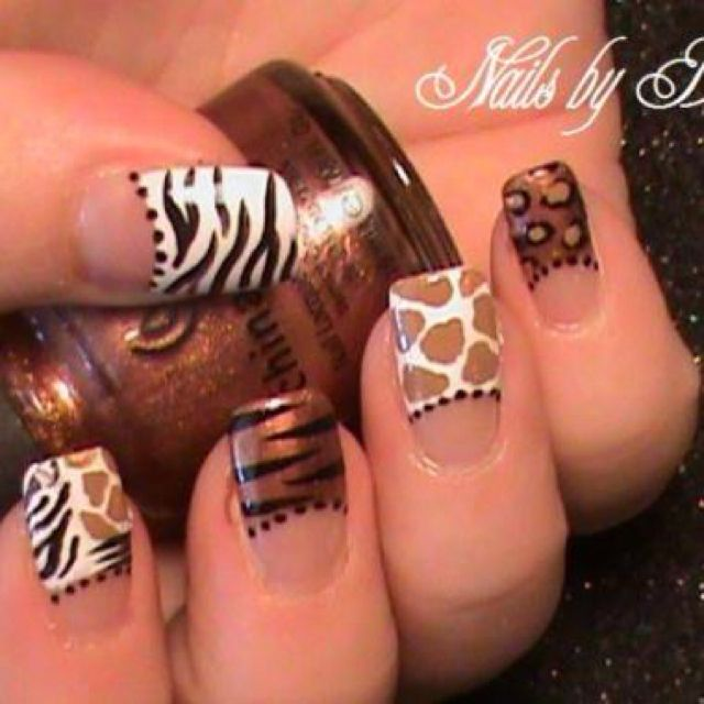 Animal print nail art. :)