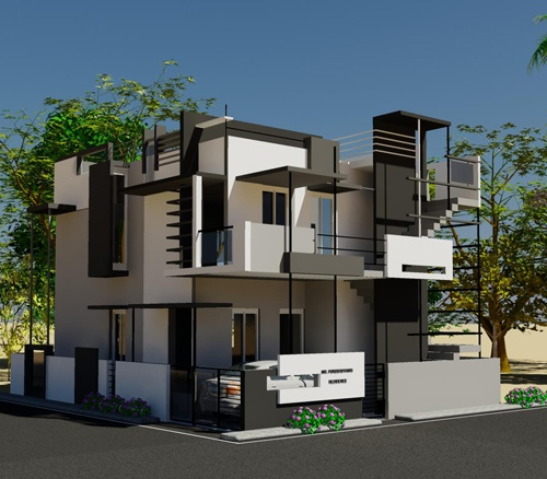 3D View of Puru's Front Elevation House Design by Ashwin Archtiects in Bangalore.    Call (+91)-(80)-26612520 for more information or visit http://www.ashwinarchitects.com