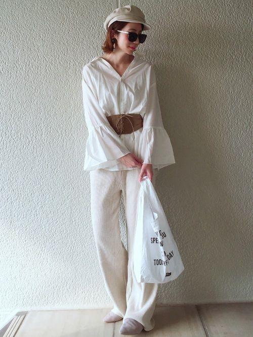 リブパンツが、楽ちん過ぎる😳✨✨ EVRISのスキッパーシャツと合わせて、ゆるコーデ♡