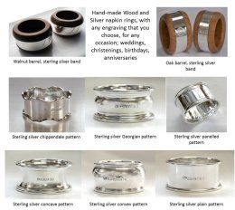 Hallmarked sterling silver napkin rings, with any engraving that you require.  £150.00 plus p&p, 6 weeks to deliver
