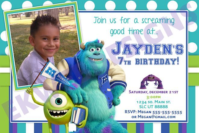 Monsters University Birthday Invitations- Monsters Inc.