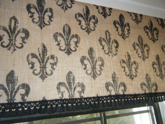 Burlap Window Valance 39 Fleur De Lis 39 45 Wide X 14 18