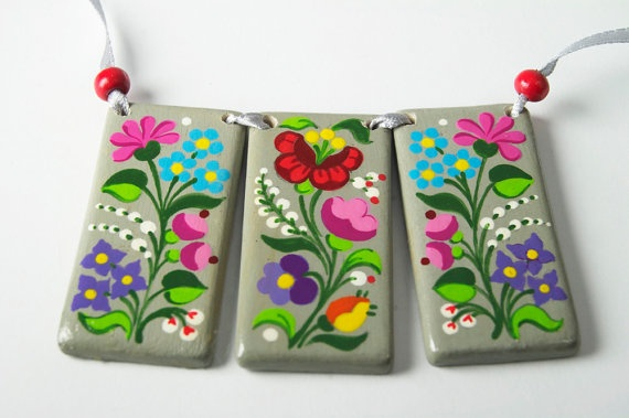 Handpainted Wooden Necklace inspired by Hungarian embroidery (style is called: Kalocsai)