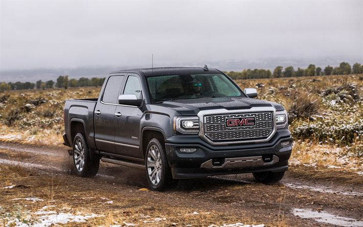Download wallpapers GMC Sierra, Denali, 2500HD, 2018, 4k, American SUV, black Sierra Denali, USA, GMC