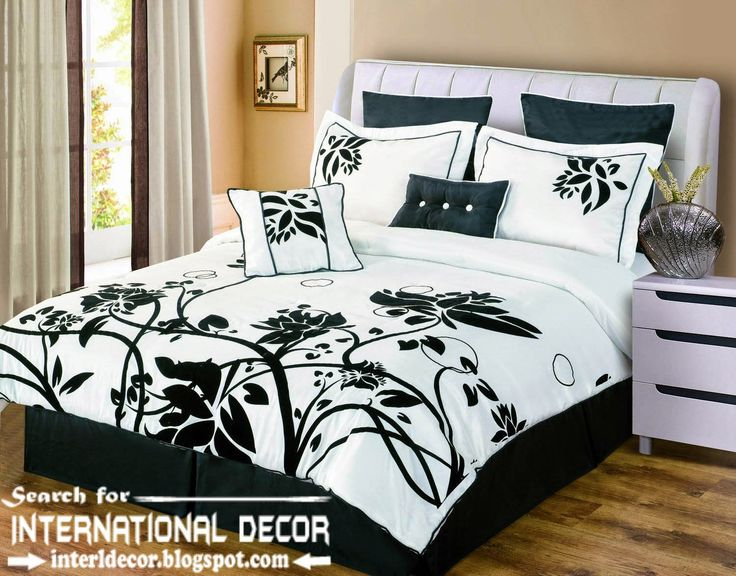 beautiful black bedroom sets with floral bedding also laminate wood floor and unique bedside table display