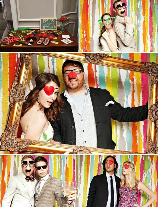photobooth backdrop using a rainbow of streamers