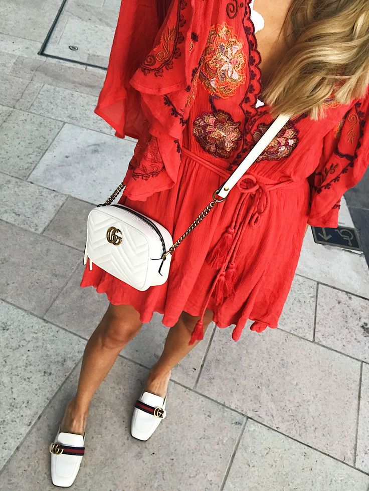 Red Embroidered Dress & White Accessories