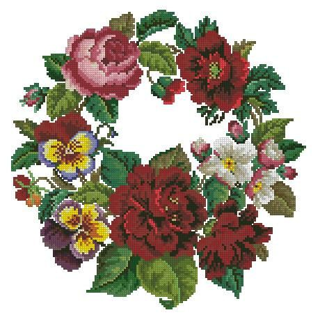 Poppies pansies and peonies wreath antique pattern by Smilylana