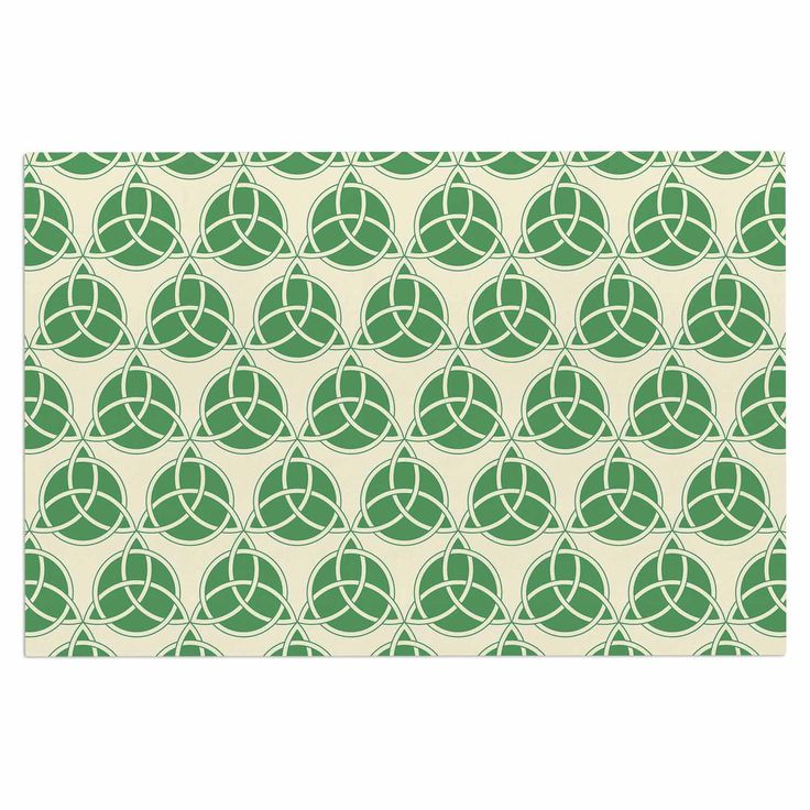 "KESS Original ""Celtic - Pattern"" Green Beige Decorative Door Mat"