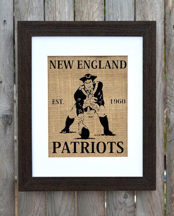 New England Patriots Burlap Wall Decor Burlap by fiberandwater