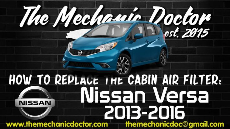 This video will show you step by step instructions on how to replace the cabin air filter on a Nissan versa 2013-2016.