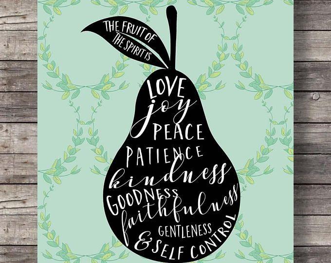Fruit of the Spirit, Galatians 5v22, Pear watercolor, typography Scripture print, Printable, fruit art print, Bible verse wall art scripture