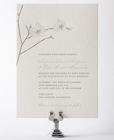 White Orchid: Orchid Letterpress Wedding Invitation from Hello Lucky. #elegantwedding