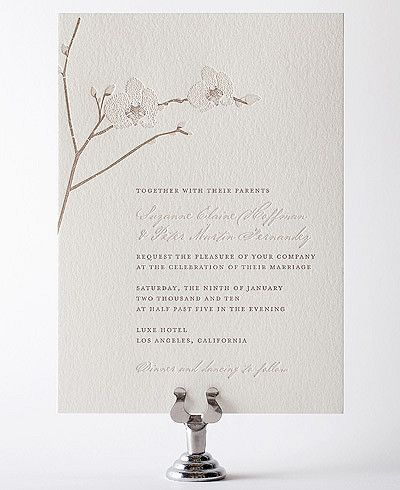 White Orchid: Orchid Letterpress Wedding Invitation from Hello Lucky. #elegantwedding