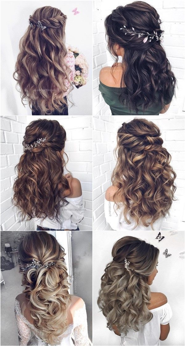 30 Half Up Half Down Und Hochsteckfrisuren Hochzeitsfrisuren Von Mpobedinskaya Wedding Id In 2020 Quince Hairstyles Hair Styles Wedding Hair Inspiration
