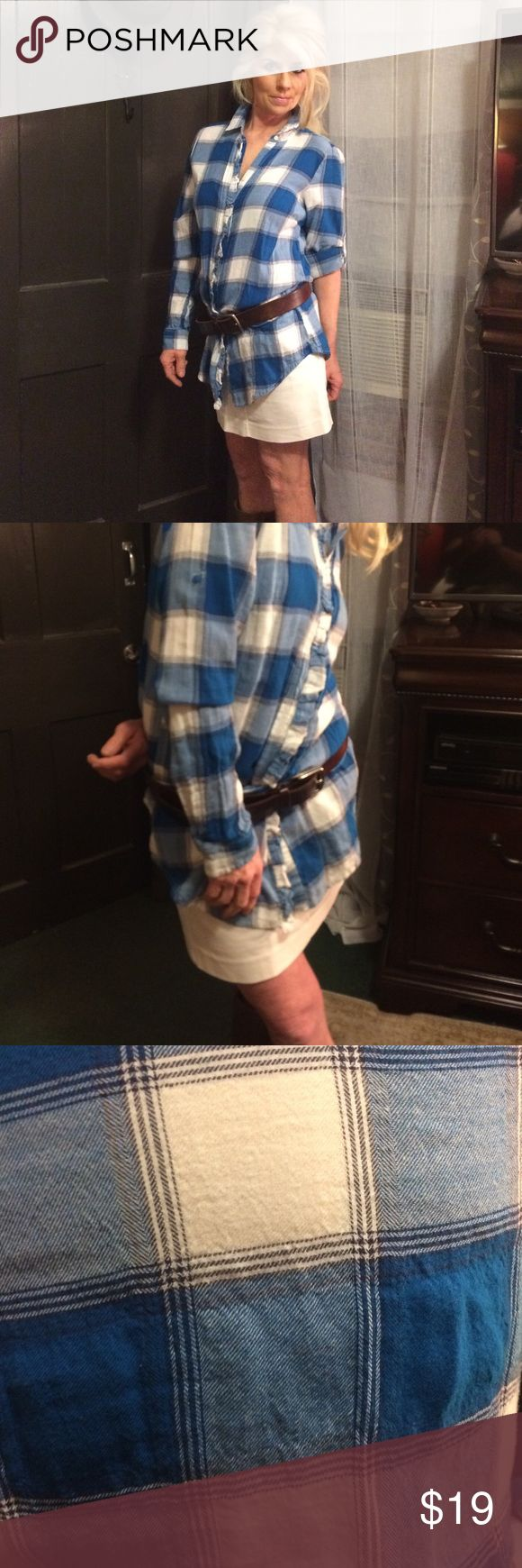 Soft long flannel blouse Soft as a baby's blanket blue and white long flannel shirt  Ever want to go out warm and comfortable but don't want to wear sweats? This is it cute while comfy and warm American Eagle Outfitters Tops Blouses