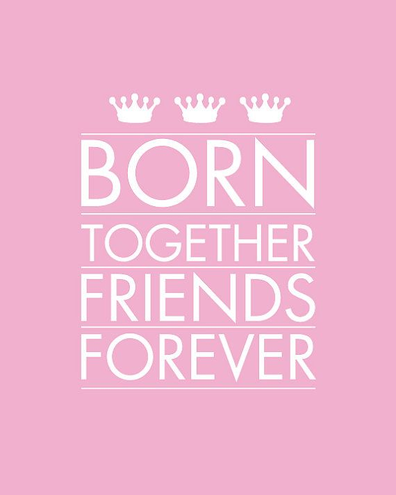 Born Together Art Print for Twins Nursery 8x10- Name Personalized for Kids and Baby Nursery, multiples, triplets, twins