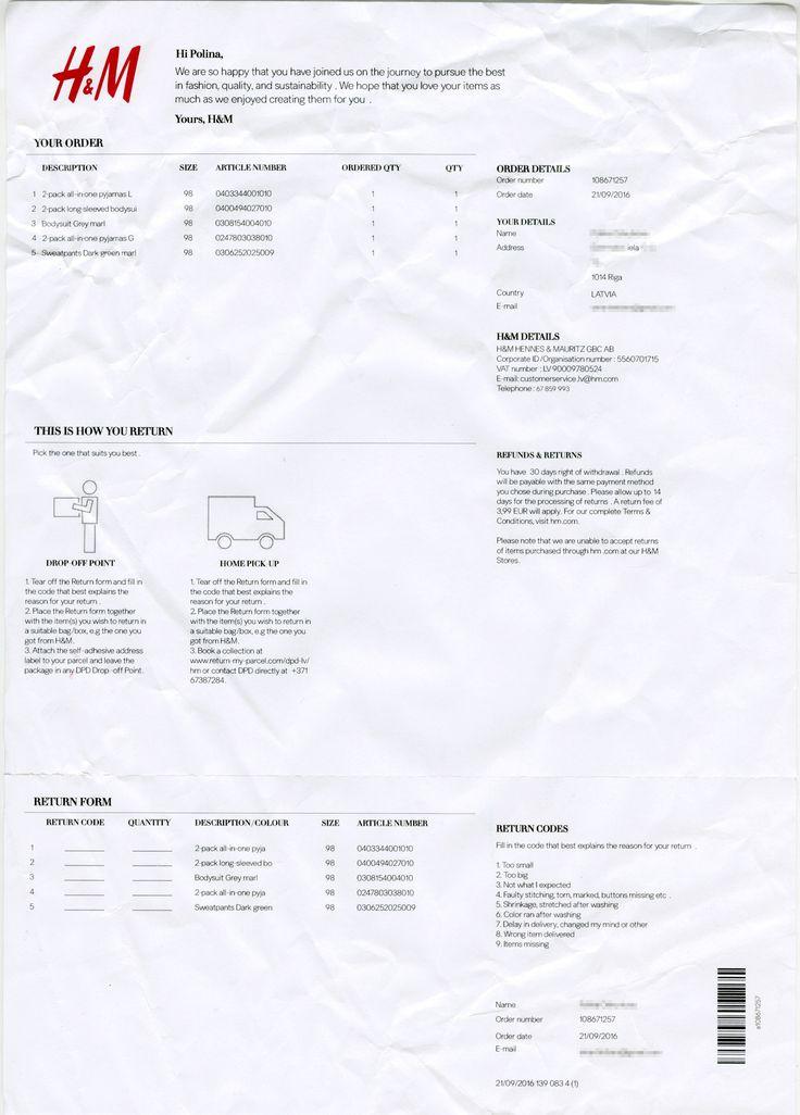 H&M order list