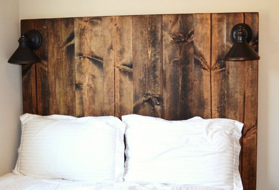 Rustic Vertical Grain Wood Headboard with lighting | The house by the lake | Headboard with