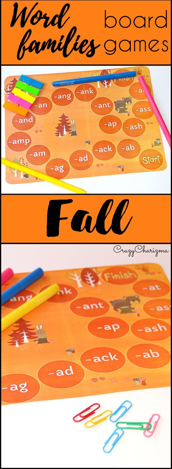 Word Families. The packet contains 5 Fall Word Families Boardgames intended for use with children in Kindergarten (Prep), Grade 1 and Grade 2. Each boardgame is designed to practice certain word families: short A, E, O, U, I. There are 630 words to read! $   CrazyCharizma