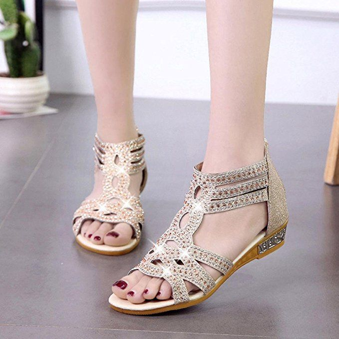 19574764fa2323 Women s Spring Summer Sandals Ladies Women Wedge Fashion Fish Mouth Hollow  Roma Shoes. These cute summer sandals women are stylish and go with any  outfit ...