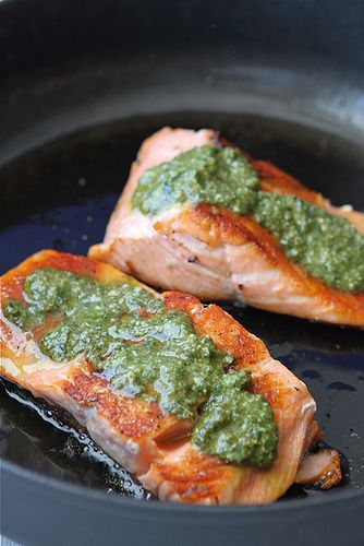 Seared Salmon & Pesto with Sauteed Peppers...This will make you fall in love with salmon all over again. (cookincanuck)