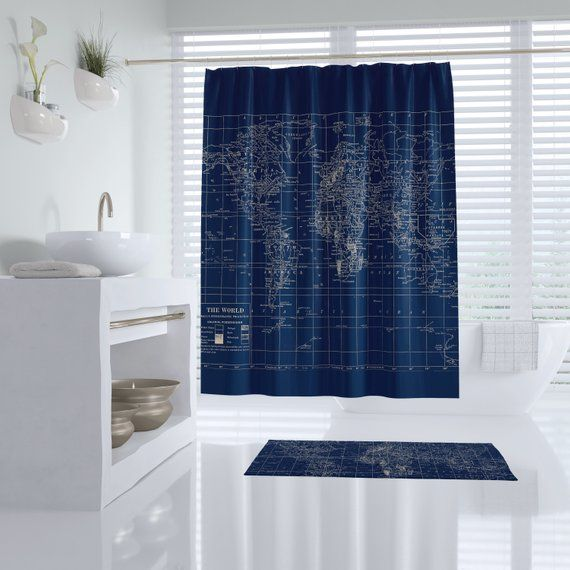 Navy Blue World Map Shower Curtain Dark Travel Decor Masculine Dark Curtains Blue Curtains Bedroom Navy Blue Bedrooms