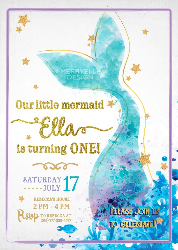 mermaid invitation mermaid birthday invitation mermaid party mermaid birthday invite mermaid birthday - Little Mermaid Party Invitations