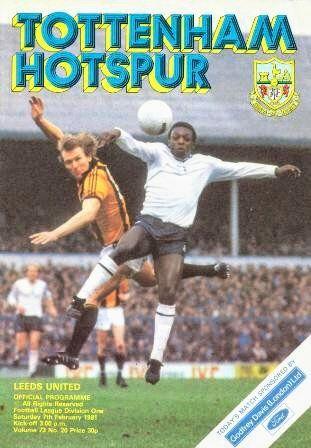 Tottenham 1 Leeds Utd 1 in Feb 1981 at White Hart Lane. The programme cover #Div1