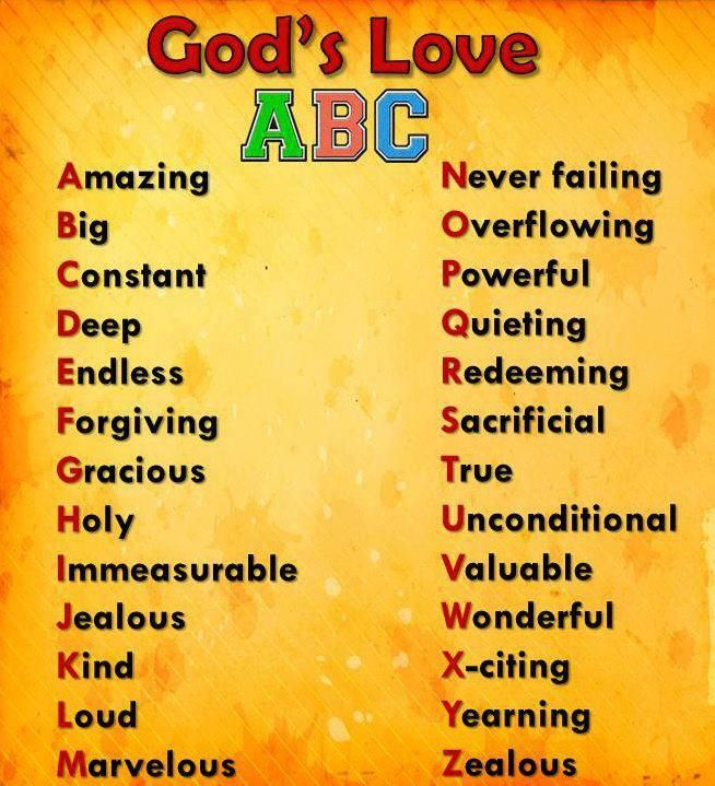 ABC's of Gods Love This seems like an elementary exercise, but your personal journal is an excellent place to search for your word. visit MyOneWord.org for more tips on choosing your word