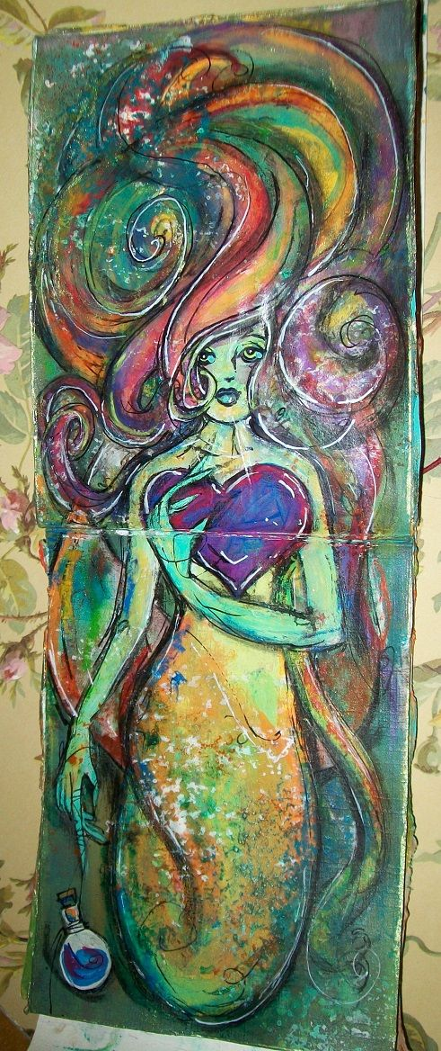 Sometimes we hold on to things that can harm us through sentimentality and habit. It leaves us floating in our own closed worlds. This mermaid represented being held in one place when there's a whole ocean to explore. She helped me let go and move on. I seem to paint mermaids a lot when I want to express my emotions or state of mind. Mixed media - acrylic paints, neocolor II, inktense pencils and bars, gel pens, gilding wax.