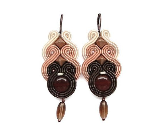 Brown Chandelier Earrings Soutache Earrings by BeadsNSoutache