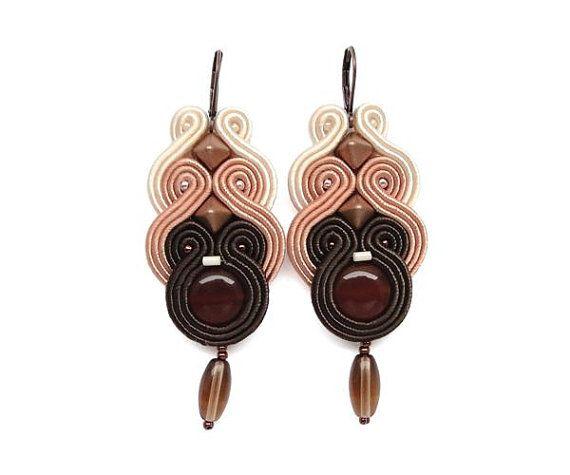 Brown Chandelier Earrings Soutache Earrings by BeadsNSoutache