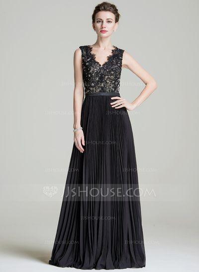 A-Linie/Princess-Linie V-Ausschnitt Bodenlang Chiffon Kleid für die Brautmutter mit Perlen verziert Pailletten Gefaltet (008072723)