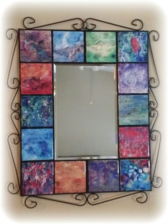 Wrought Iron Framed Mirror with 14 Ceramic Tiles, Home Decor, Wall Art, custom art, custom mirror