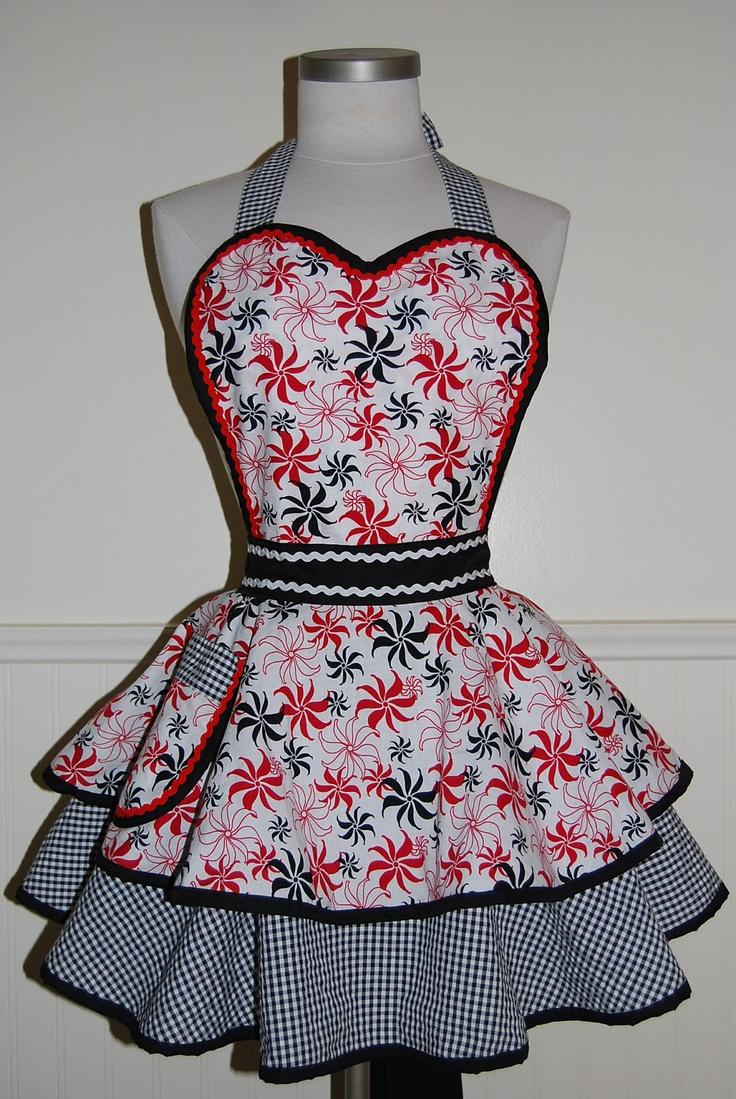 White half apron vintage - Red White And Black Pinup Full Retro 50s Circle Skirt Apron