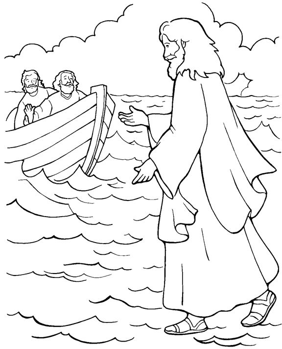 black and white bible coloring pages | Jesus Walking On Water Coloring Page | sondagskool ...