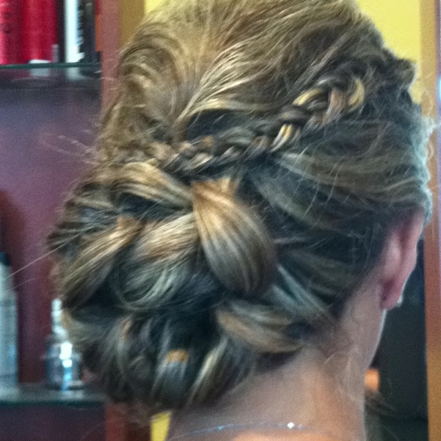 Up do braid with curls