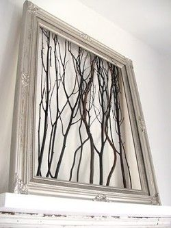 twigs into a picture frame great scenery wall art