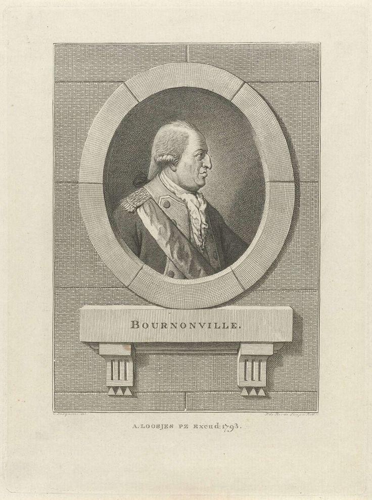 Theodorus de Roode | Portret van de Franse generaal Bournonville, Theodorus de Roode, Adriaan Pietersz. Loosjes, 1793 |