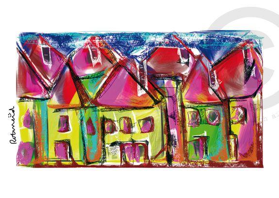 Straatje gemaakt door Rotmeid. Rotmeid is een Delftse kunstenaar en maakt haar illustraties digitaal. Ze schildert als het ware op een beeldscherm.