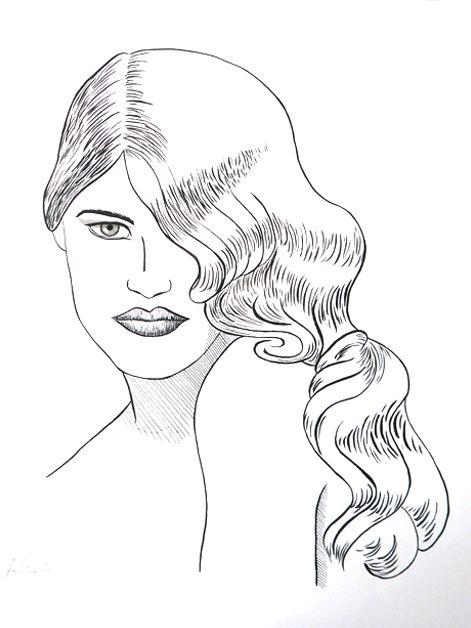 Portrait Frau mit welligem Haar, Tusche auf Künstlerpapier Din A3