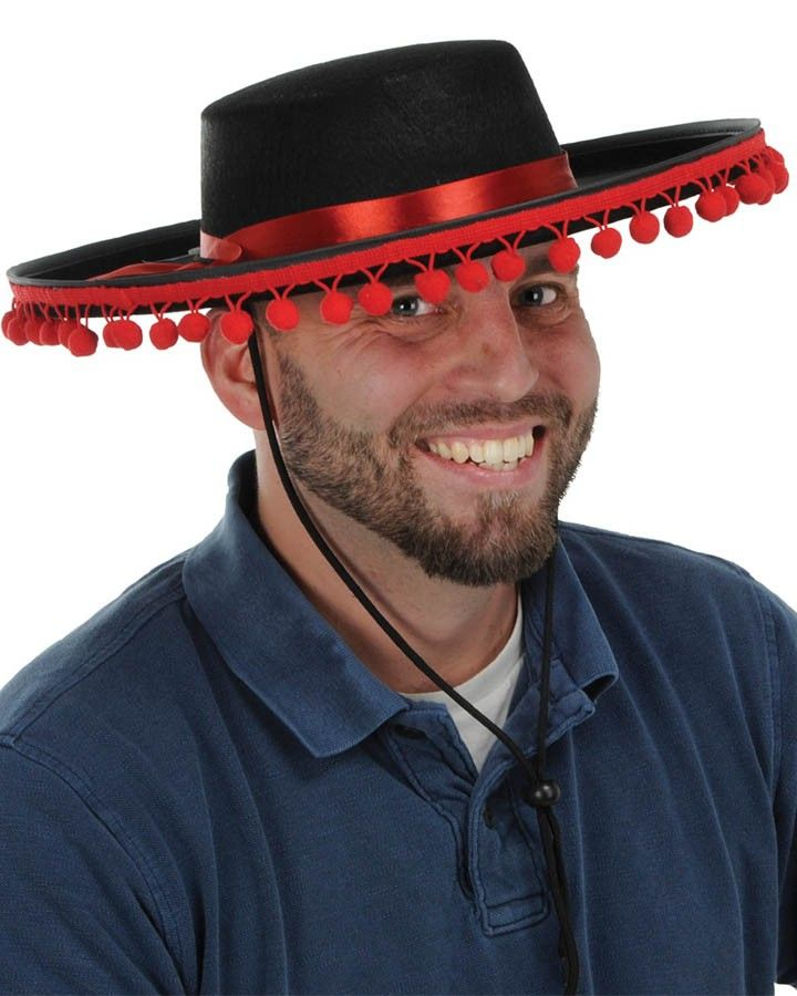 Spanish Hat Black with Red Trims