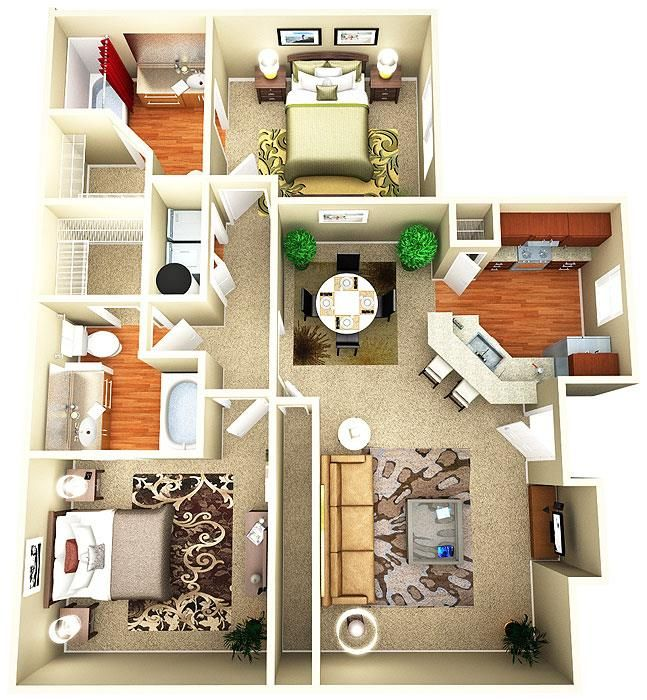Apartment/Condo Floor Plans - 1 Bedroom, 2 Bedroom, 3 Bedroom and Town home style, Spacious Floor Plans Luxurious Living near Murfreesboro TN