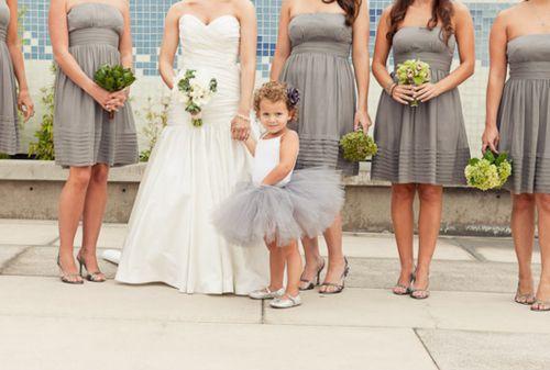 Flower girl tutu same color as bridesmaids dresses